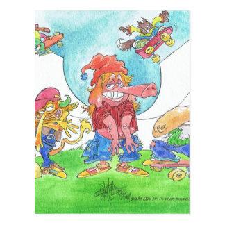 Cool skateboarding animal cartoon caharacters. postcard
