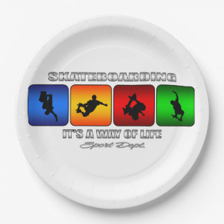 Cool Skateboarding It Is A Way Of Life 9 Inch Paper Plate