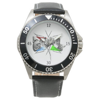 Cool Skater gentleman clock with black leather Watch