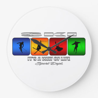 Cool Ski It Is A Way Of Life Large Clock