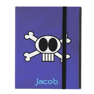 Cool Skull and Crossbones Personalized iPad Folio Case
