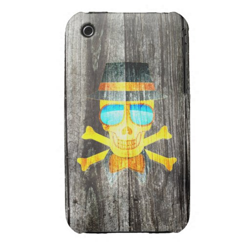 Cool Skull glasses hat wood grey background Case-Mate iPhone 3 Case