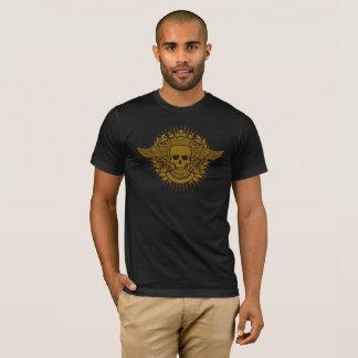Cool Skull Symbol & Wings Yellow Graphic T-Sh T-Shirt