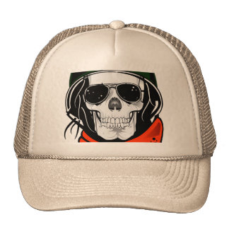 cool skull with sunglasses and helmet trucker hat