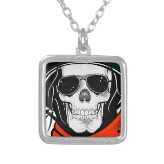 cool skull with sunglasses and helmet personalised necklace