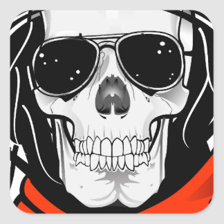 cool skull with sunglasses and helmet square sticker