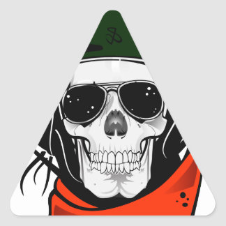 cool skull with sunglasses and helmet triangle sticker