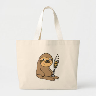 Cool Sloth Drinking Champagne Cartoon Large Tote Bag