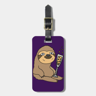 Cool Sloth Drinking Champagne Cartoon Luggage Tag