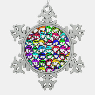 COOL SMILING FACES GROUP PEWTER SNOWFLAKE DECORATION