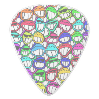 COOL SMILING FACES GROUP + your idea White Delrin Guitar Pick