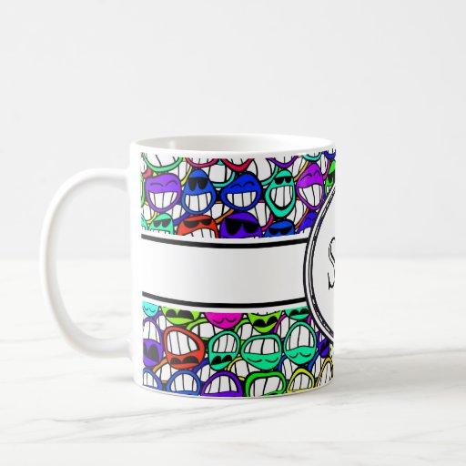 cool smiling faces + monogram mug
