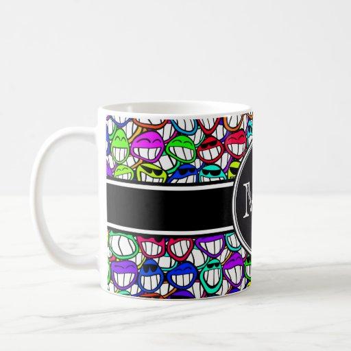 Cool Smiling Faces Pattern I + your monogram Coffee Mug