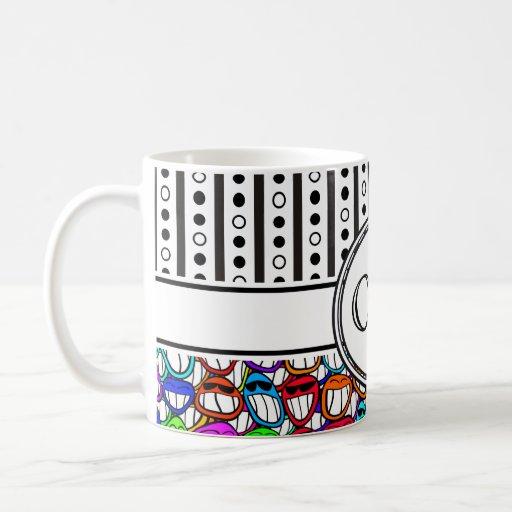 Cool Smiling Faces Pattern I + your monogram Mug