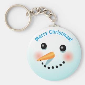 Cool Smiling Snowman Cartoon Key Ring
