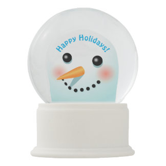 Cool Smiling Snowman With Carrot Nose Snow Globes
