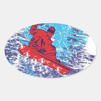 Cool Snowboarder Oval Sticker
