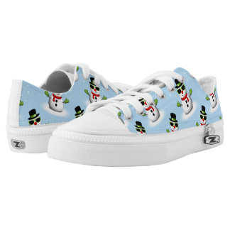 Cool Snowman with Shades Adorable Smirk pattern Low Tops