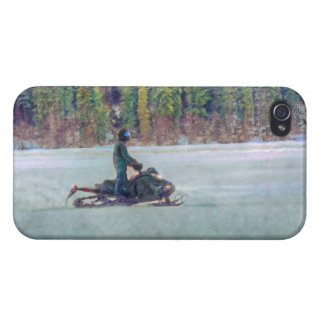 Cool Snowmobiler on Ice Lake Winter Sports Theme iPhone 4 Covers