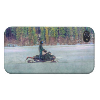 Cool Snowmobiler on Ice Lake Winter Sports Theme iPhone 4/4S Covers