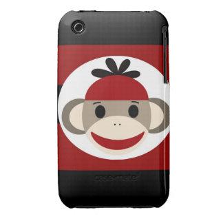 Cool Sock Monkey Beanie Hat Red Black Stripes iPhone 3 Case