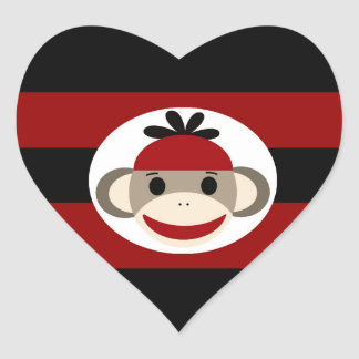 Cool Sock Monkey Beanie Hat Red Black Stripes Heart Sticker