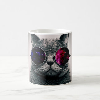 Cool Space Cat with Telescope Glasses Milky Way Mugs