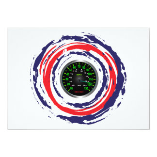 """Cool Speed Emblem (Red Blue And White) 1 5"""" X 7"""" Invitation Card"""