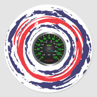 Cool Speed Emblem (Red Blue And White) 1 Round Sticker
