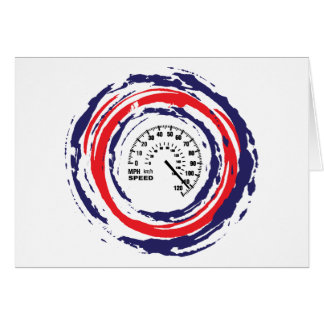 Cool Speed Emblem Red Blue And White 2 Greeting Card