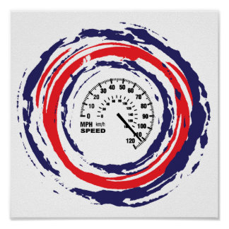 Cool Speed Emblem Red Blue And White 2 Posters