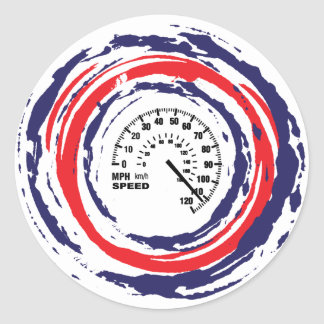 Cool Speed Emblem (Red Blue And White) 2 Round Sticker
