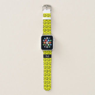 Cool Spilled Stained Happy Smiley face Monogram Apple Watch Band