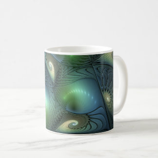 Cool Spirals Beige Green Turquoise Fractal Coffee Mug