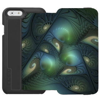 Cool Spirals Beige Green Turquoise Fractal Incipio Watson™ iPhone 6 Wallet Case
