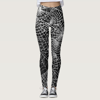 Cool Spooky Spider Webs Pattern Occult Style Leggings