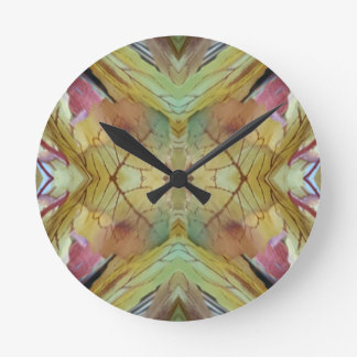 Cool Spring Fall Color Combo Pattern Round Clock