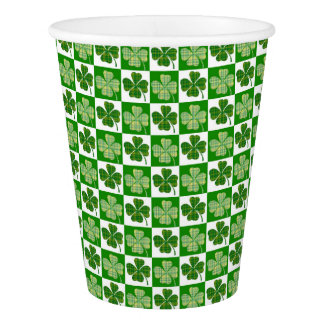 Cool St. Patrick's Day Four-leaf Clover Pattern Paper Cup