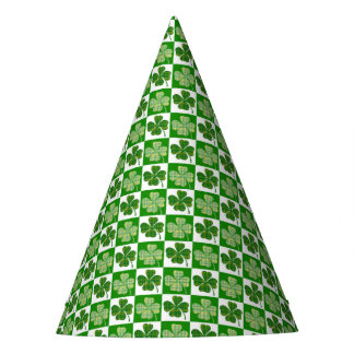 Cool St. Patrick's Day Four-leaf Clover Pattern Party Hat