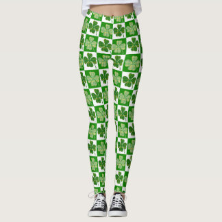 Cool St. Patrick's Day Green Clover Pattern Leggings