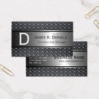 Cool Steel Gray Faux Metal Diamond Plate Pattern Business Card