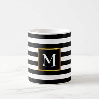 Cool striped name initial monogram with gold frame coffee mug