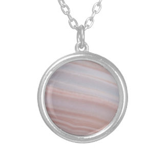 Cool Stripes Botswana Agate Awesome Stone Silver Plated Necklace
