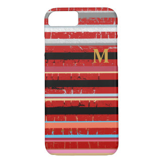 cool stripes with custom initial iPhone 7 case