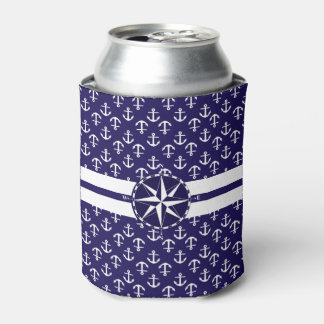 Cool Stylish Anchor Pattern Nautical Theme Compass Can Cooler