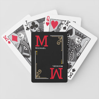 cool stylish player initials - personalized black bicycle playing cards