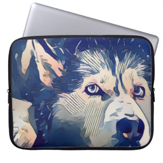 Cool Stylized Husky Drawing Laptop Sleeve