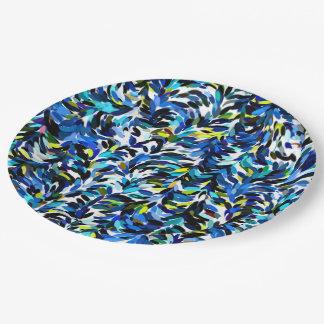 Cool Summer Colors Paint Splatter Pattern Paper Plate