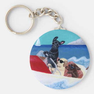 Cool Summer Labradors Painting Key Ring