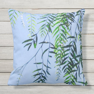 Cool Summer sky with fresh green leaves. Outdoor Cushion